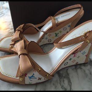 Authentic Louis Vuitton White Multicolour Heels